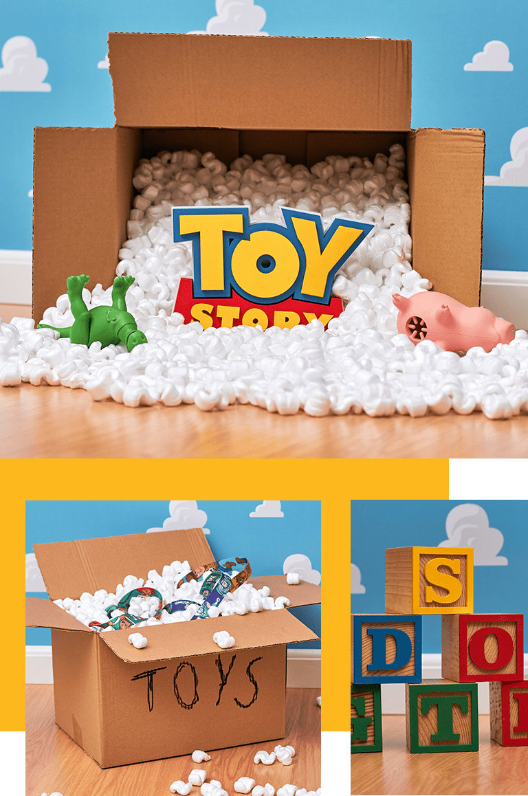 Caixa exibindo uma guia da Zee.Dog e o Título de Toy Story