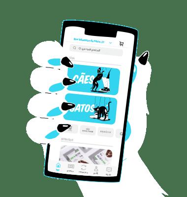 Mão de um Pet segurando o celular com o app Zee.Now - Zee.Dog