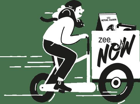 Imagem ilustrando o entregador da Zee.Now